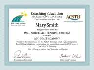 AAC Graduation Certificate Mary Smith